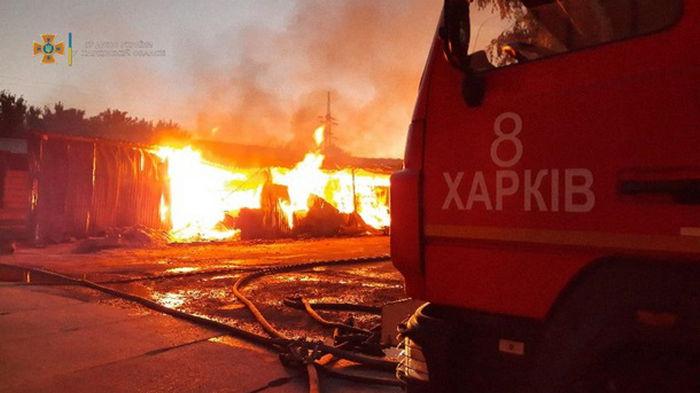 В Харькове произошел крупный пожар на складе древесины (фото)