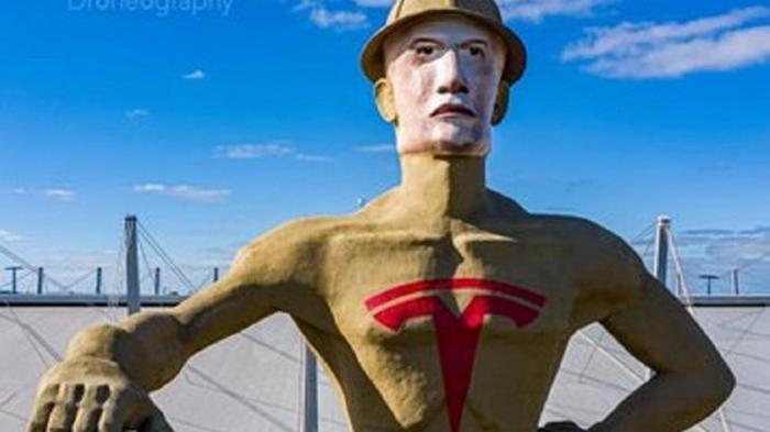 В США гигантской статуе нарисовали лицо Маска (видео)