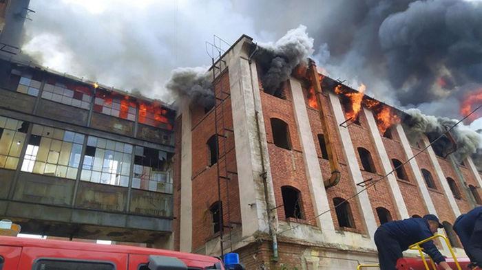 Пожар на бывшем заводе в Мукачево потушили
